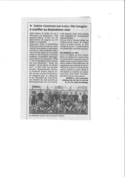 Le 10ième BADILOIRE et les 10 ans du BCG annoncés dans la presse