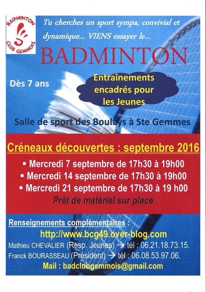 Venez essayer gratuitement le badminton !!!